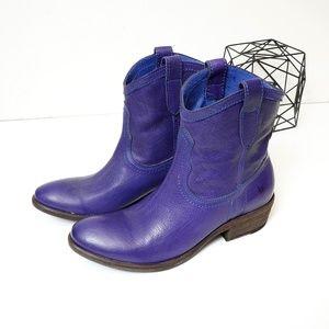 Frye Carson Short Purple Leather Western Boot